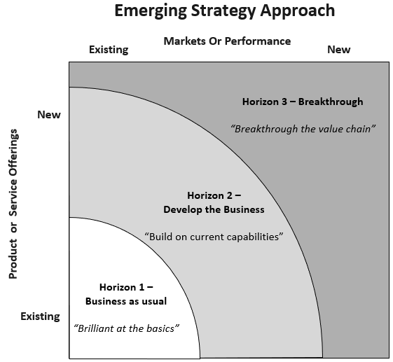 Emerging Strategy Approach graph showing three horizons